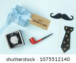 table top view happy fathers...   Shutterstock . vector #1075512140