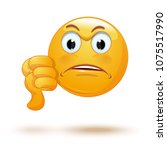 emoticon showing thumbs down.... | Shutterstock .eps vector #1075517990