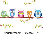 Stock vector illustration of five different funny owls sitting on a branch 107552219