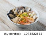 malaysian seafood noodles | Shutterstock . vector #1075522583