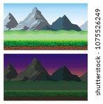 cute cartoon endless landscape... | Shutterstock .eps vector #1075526249