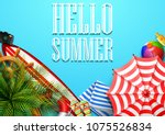 hello summer time holiday... | Shutterstock .eps vector #1075526834