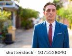 portrait of mature handsome... | Shutterstock . vector #1075528040