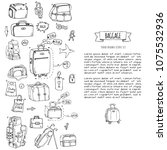 hand drawn doodle baggage icons ... | Shutterstock .eps vector #1075532936