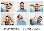 portrait of happy italian man... | Shutterstock . vector #1075536698