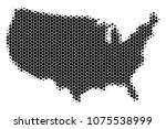 halftone circle usa map. vector ... | Shutterstock .eps vector #1075538999