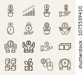 money outline vector icon set... | Shutterstock .eps vector #1075539410