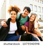 cute group teenages at the... | Shutterstock . vector #1075540598