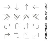 arrows set icon vector. line... | Shutterstock .eps vector #1075540850