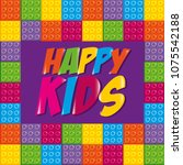 happy kids label with toy bricks | Shutterstock .eps vector #1075542188