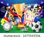 football ad poster  yellow and...   Shutterstock .eps vector #1075545536