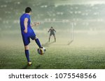 back view of asian football... | Shutterstock . vector #1075548566