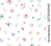 cute watercolor unicorn... | Shutterstock . vector #1075549040