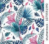 beautiful tropical flowers ... | Shutterstock . vector #1075551590