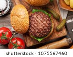 tasty grilled home made burger... | Shutterstock . vector #1075567460
