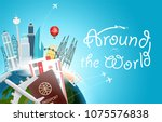 around the wotld concept with... | Shutterstock .eps vector #1075576838