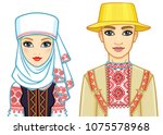 slavic beauty. animation... | Shutterstock .eps vector #1075578968