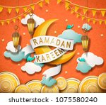 lovely ramadan kareem design in ... | Shutterstock .eps vector #1075580240