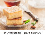 two slices of homemade semolina ... | Shutterstock . vector #1075585403