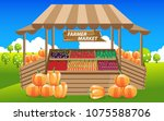fruits and vegetables at farmer ... | Shutterstock .eps vector #1075588706