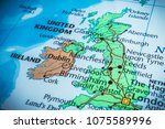 united kingdom and irland on... | Shutterstock . vector #1075589996