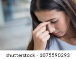 portrait of stressed sick woman ... | Shutterstock . vector #1075590293