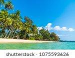 beautiful tropical beach and... | Shutterstock . vector #1075593626