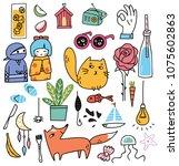 set of various cute doodles | Shutterstock .eps vector #1075602863