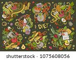 colorful vector hand drawn... | Shutterstock .eps vector #1075608056