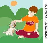a little boy fondling and... | Shutterstock .eps vector #107561120