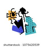 illustration of the operator ... | Shutterstock .eps vector #1075620539