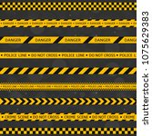 black and yellow police stripe... | Shutterstock . vector #1075629383