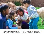 four latin children taking care ... | Shutterstock . vector #1075641503