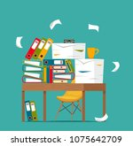 pile of papers  documents and... | Shutterstock .eps vector #1075642709