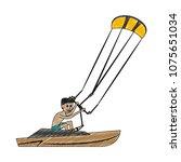 kiteboating water sport scribble   Shutterstock .eps vector #1075651034