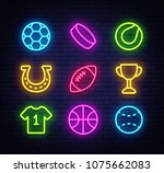 sport collection icons neon... | Shutterstock .eps vector #1075662083