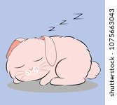 time to sleep of pinky rabbit | Shutterstock .eps vector #1075663043
