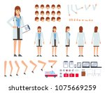 female doctor in lab coat... | Shutterstock .eps vector #1075669259