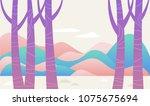 purple tree fantasy forest...   Shutterstock .eps vector #1075675694