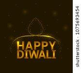 happy diwali magic background...   Shutterstock . vector #1075693454