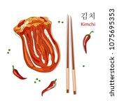south korea symbol   kimchi ...   Shutterstock .eps vector #1075695353
