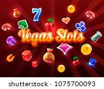 slots 3d element isolated on... | Shutterstock .eps vector #1075700093