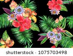 vivid exotic collage seamless... | Shutterstock . vector #1075703498