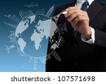 businessman drawing the concept ...   Shutterstock . vector #107571698