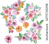 set of flowers bouquets... | Shutterstock . vector #1075720298