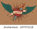vector heart with wings and... | Shutterstock .eps vector #107572118