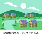 village with houses using solar ... | Shutterstock .eps vector #1075744466