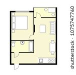 plan apartment  studio ... | Shutterstock .eps vector #1075747760