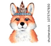 Stock photo watercolor boho fox portrait hand drawn illustration with forest animal 1075747850