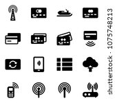 solid vector icon set   antenna ... | Shutterstock .eps vector #1075748213